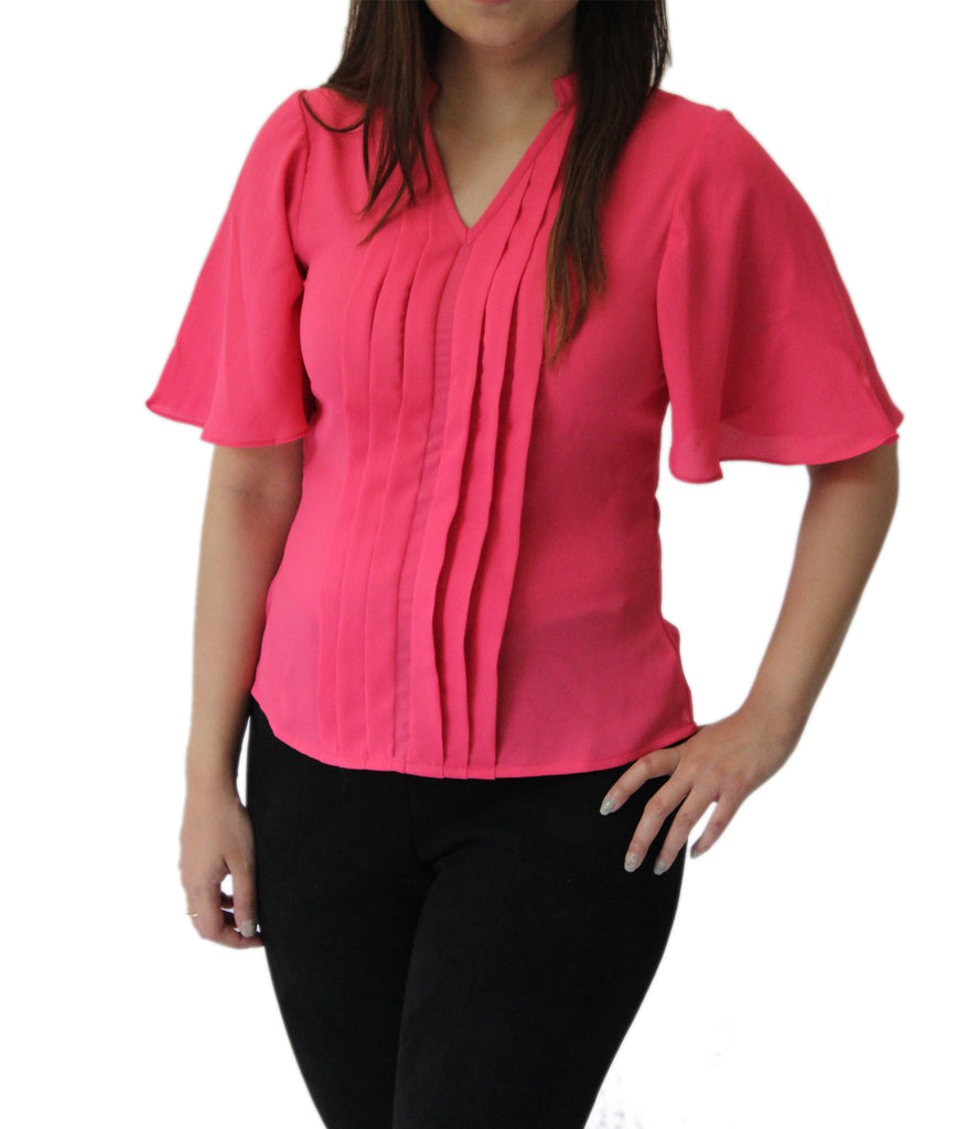 07f9d1d142f0 Pink Pleated Flared Sleeves Top - ASMA Fashions – ASMA FASHIONS