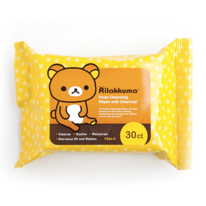 San-x Rilakkuma Cleansing Wipes With Charcoal and Rose Extract - TokTok Beauty