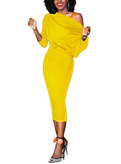 9b16d1f072f9 Yellow One Shoulder Dress with Three Quarter Sleeves and Loose Top ...