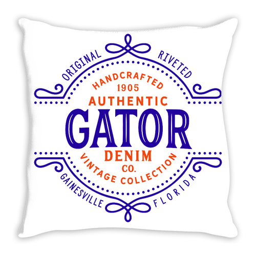 iheart UF gators denim and stripe throw pillow