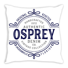 iheart UNF ospreys denim and stripe throw pillow