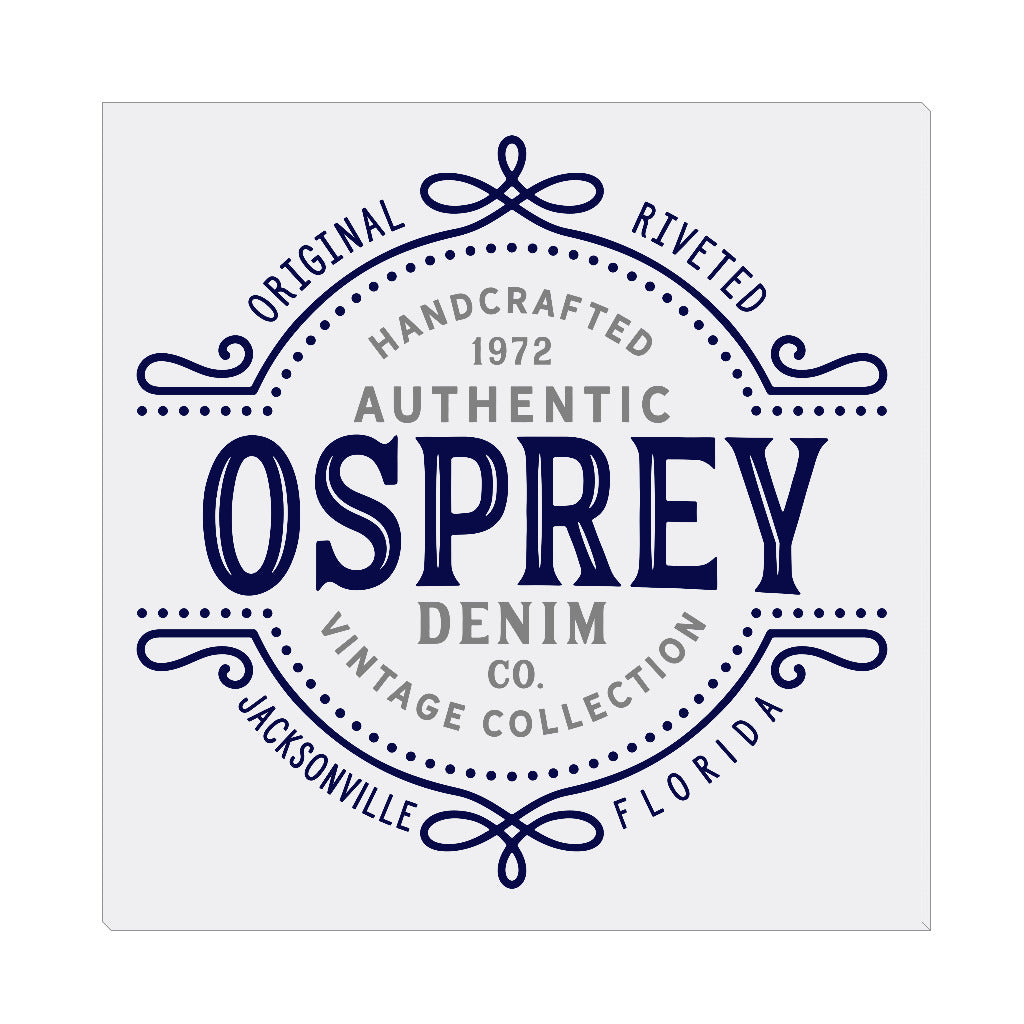 iheart UNF ospreys denim square canvas wall art
