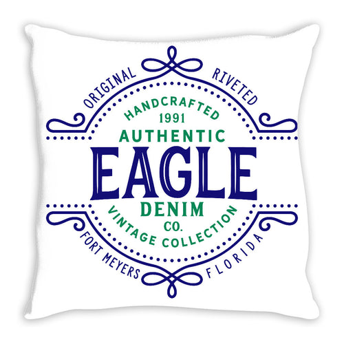 iheart FGCU eagles denim and stripe throw pillow