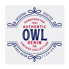 iheart FAU owls stripe denim canvas wall art