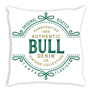iheart USF bulls denim and stripe throw pillow