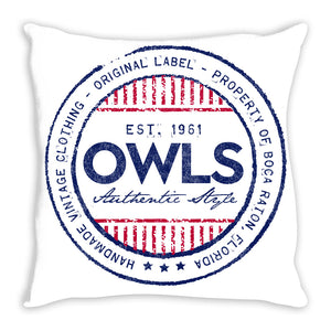 iheart FAU owls denim and stripe throw pillow
