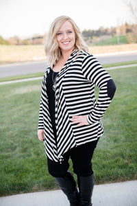 Janice striped cardigan: Black