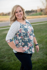 Samantha floral raglan top: Teal