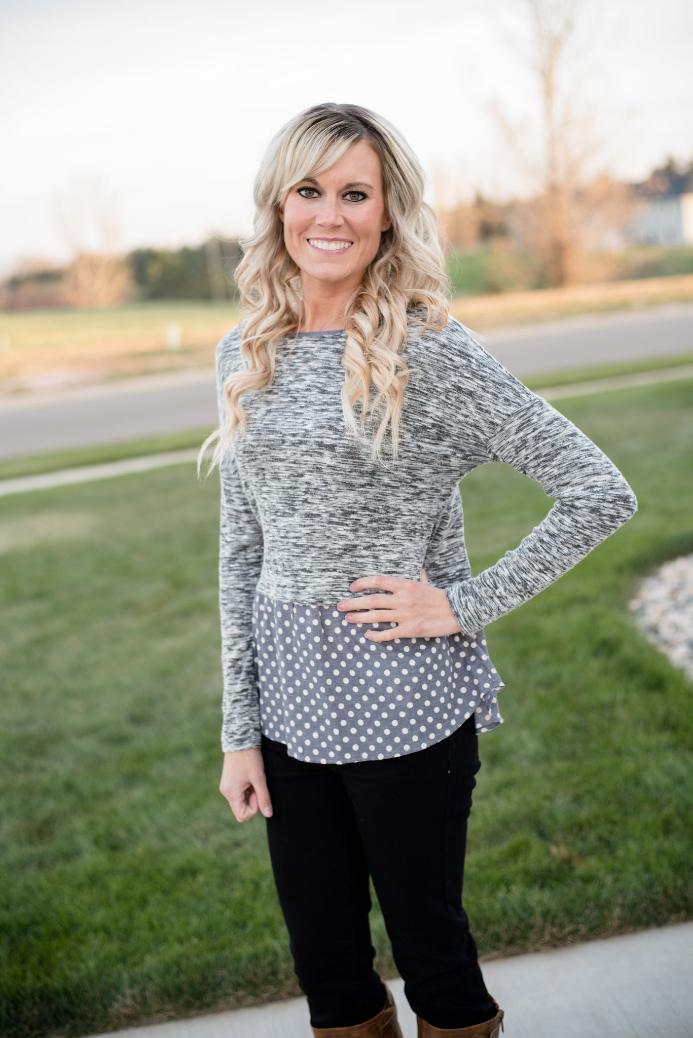 Bailey peplum polka dot top