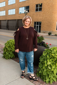 Zanda cold shoulder sweater