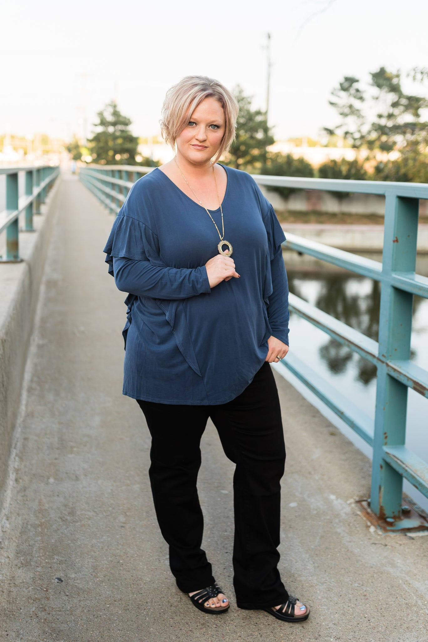 Karma draped ruffle top