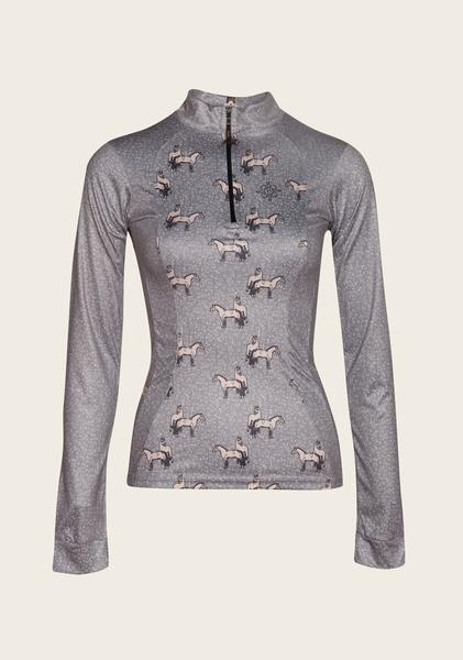 Beige Horse Flower Blue Sky Everyday Riding Shirt Grey