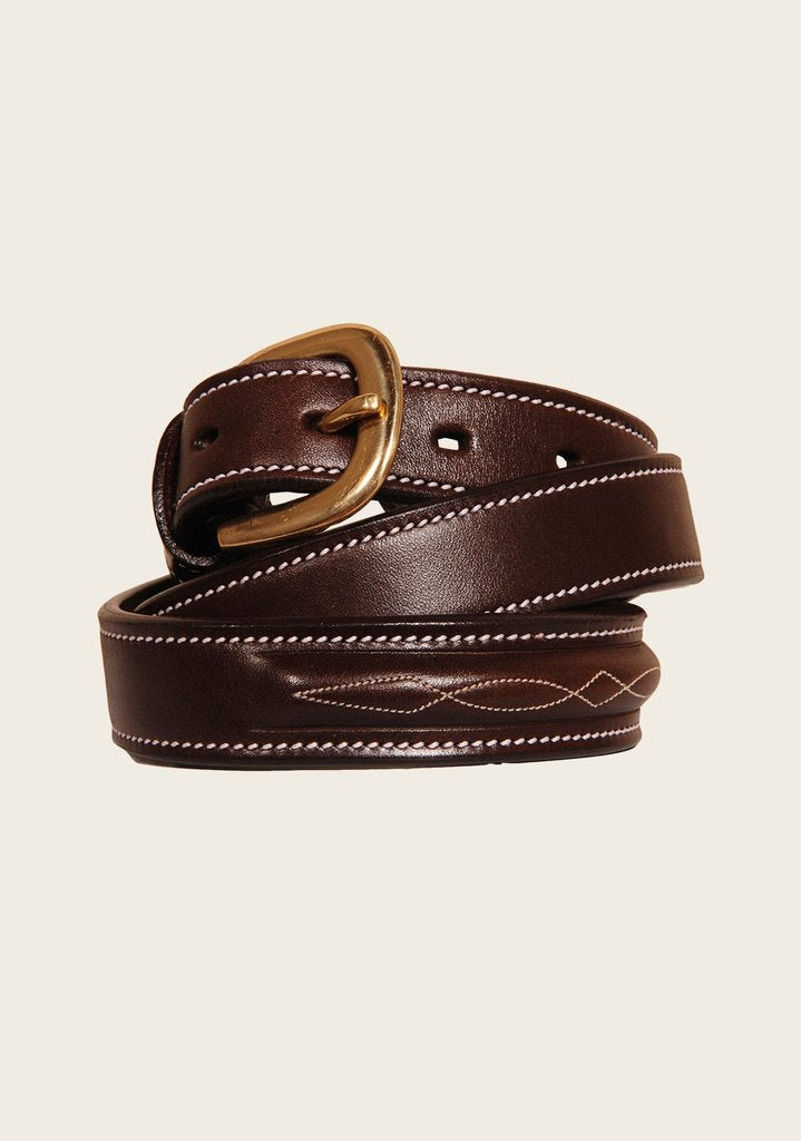 Espoir Fancy Stitch Leather Belt ON SALE