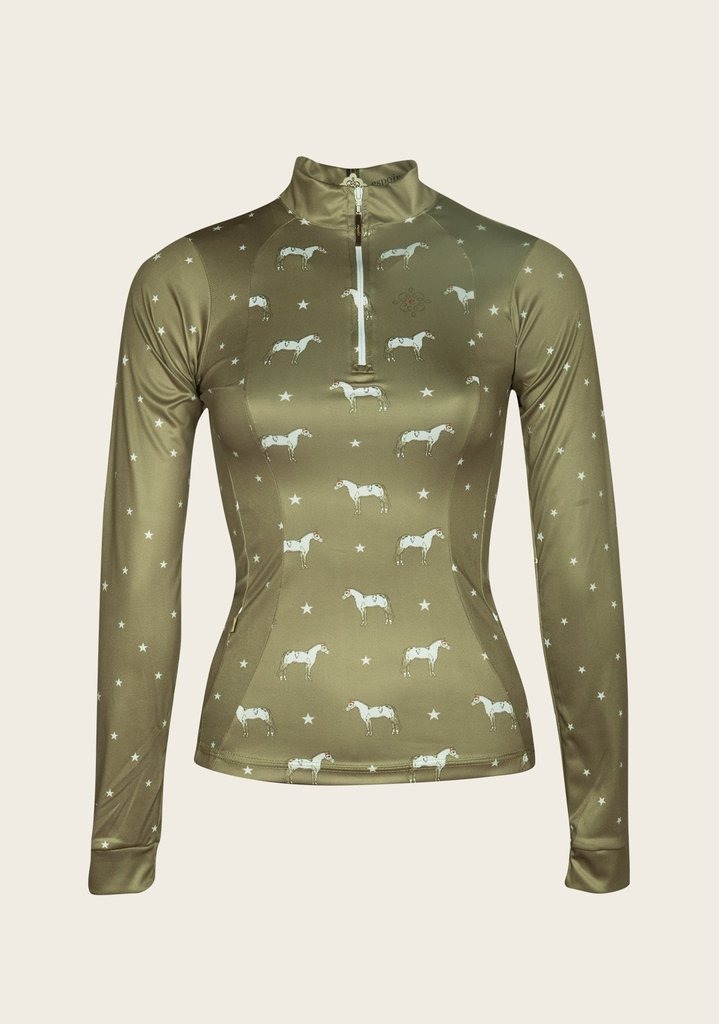 Olive Horse and Star Everyday Riding Shirt