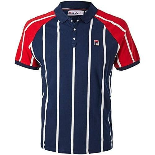 Fila Mens Antonio Polo Shirt Tee color-peacoat-chinese-red-white fila size-large size-small