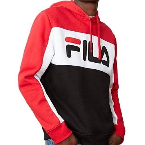 Fila Mens Todd Hoodie Shirt color-chinese-red-white-black fila size-large size-medium size-x-large