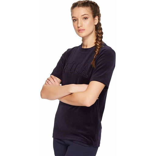 Fila Womens Olivia Velour Tee color-navy fila size-small size-x-small