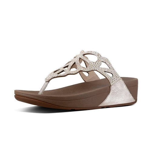 FitFlop Womens Bumble Crystal Toe-Thong Sandals shoes 100-150 color-gold color-pewter fitflop Sandal
