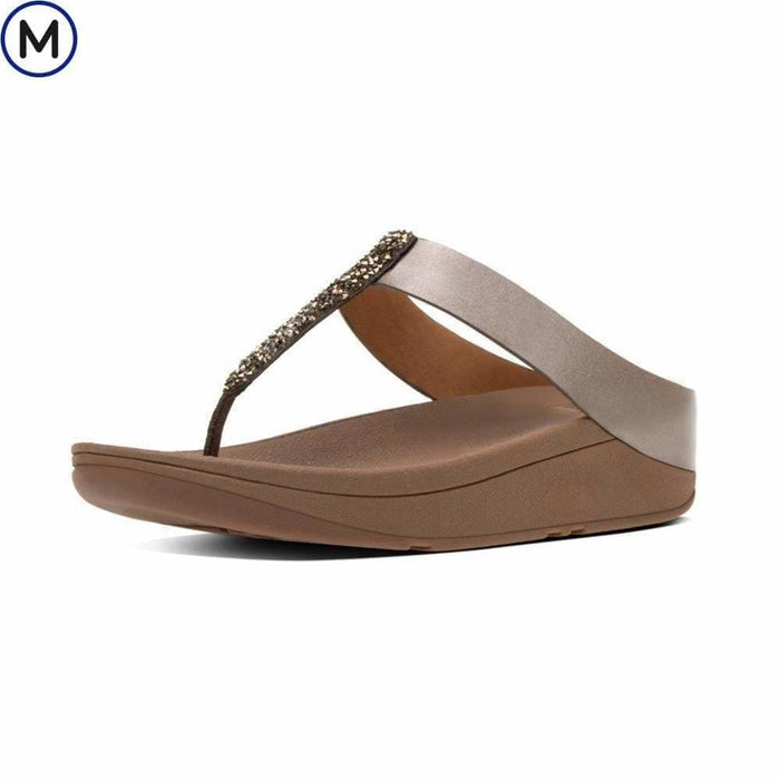 FitFlop Womens Fino Toe-Thong Sandals shoes 75-100 color-bronze color-pewter fitflop Sandal 190035251758