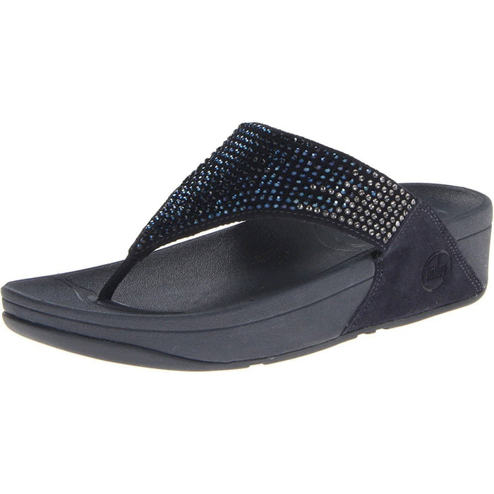 FitFlop Womens Flare Thong Sandal shoes 100-150 color-black color-pebble color-supernavy fitflop