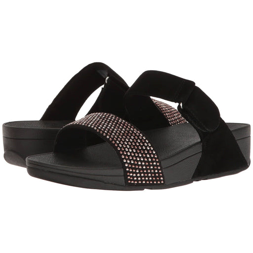 FitFlop Womens Lulu Popstud Slide Sandals shoes 100-150 black color-black color-midnight-navy desert