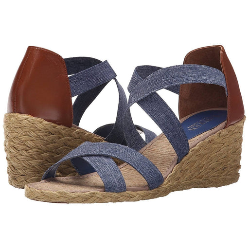 Lauren Ralph Womens Cortney Espadrille Wedge Sandal shoes color-blue-polo-tan-denim-elastic-burn-vachetta lauren-ralph-lauren size-11