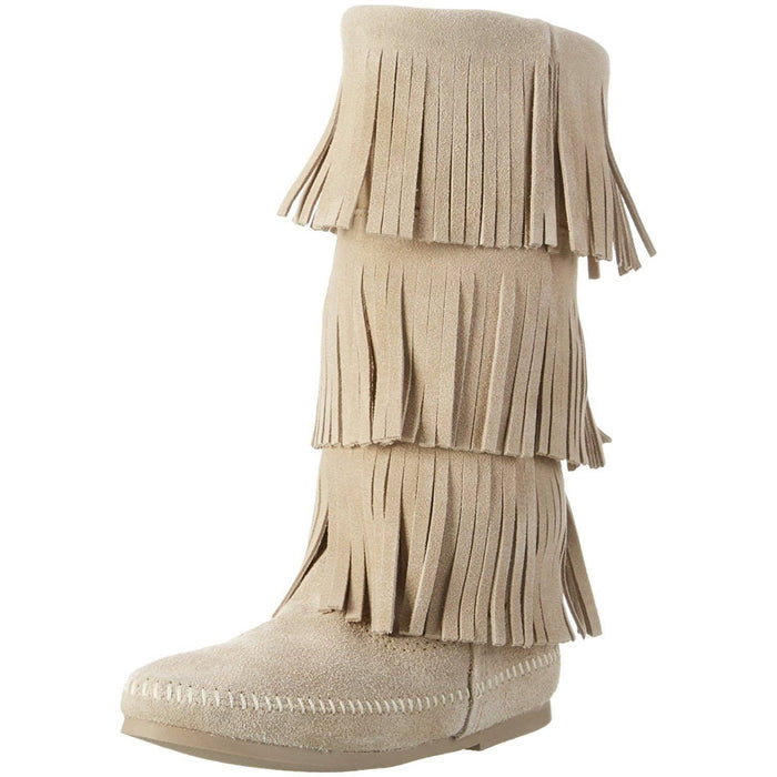 Minnetonka Womens 3-Layer Fringe Boot shoes 75-100 color-black color-dusty-brown color-gray color-taupe 7.48E+11