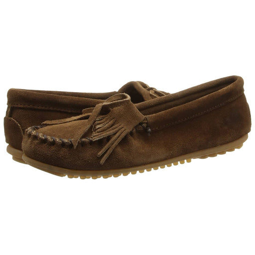Minnetonka Womens Kilty Moc Stone Suede shoes 7.48E+11