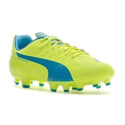 PUMA Mens Evospeed 4.4FG Soccer Shoe Shoes color-black-safety-yellow color-safety-yellow-atomic puma size-10-5-dm-us size-10-dm-us