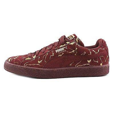 PUMA Mens Suede Brush Emboss Metallic Sneaker Shoes color-oxblood-red-team-gold puma size-13-dm-us size-14-dm-us