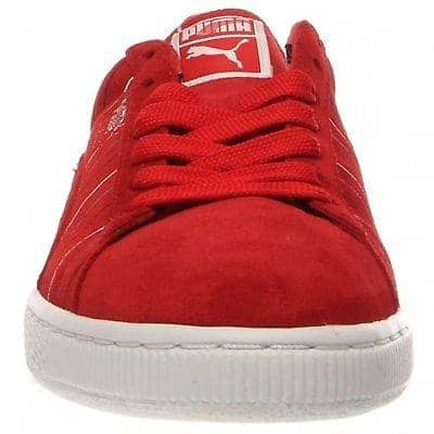 PUMA Mens Suede Striped Sneaker Shoes color-high-risk-red-silver-white puma size-10-5-dm-us size-10-dm-us size-11-5-dm-us