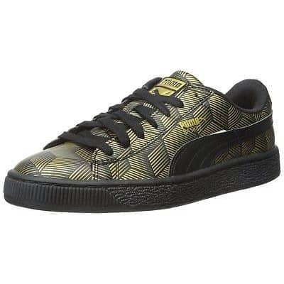 PUMA Womens Basket Classic Metal Sneaker shoes color-black color-white puma size-10 size-5-5