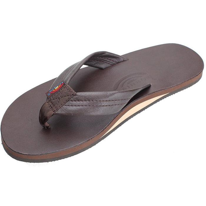Rainbow Sandals Womens Single Layer Classic Leather with Arch Support shoes color-classic-mocha size-6-5-7-5-women Slipper