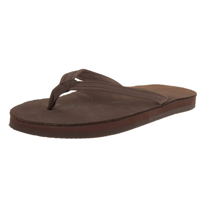 Rainbow Sandals Womens Single Layer Premier Leather with Arch Support and a Narrow Strap shoes color-dark-brown color-sand