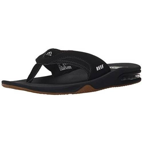 Reef Fanning Mens Sandals | Bottle Opener Flip Flops For Men Shoes color-black-silver reef Sandal size-12-men Slipper 8.82E+11