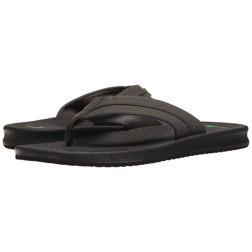 Sanuk Mens Brumeister Flip-Flop Shoes color-black color-brown color-charcoal-lightning sanuk size-10-men