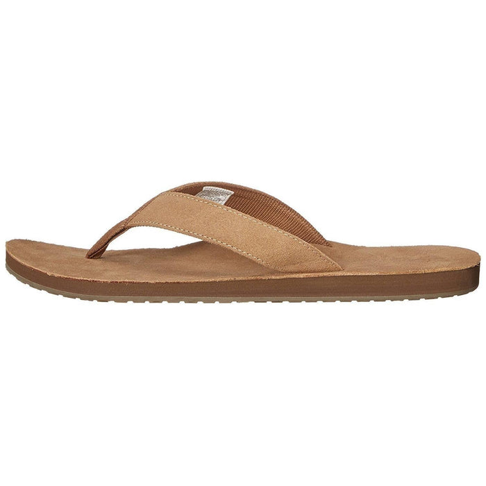 Sanuk Mens Fraid Suede Flip-Flop Shoes color-brown color-tan sanuk size-10-men size-11-men
