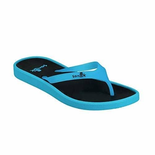 Sanuk Womens Sidewalker Neon Flip-Flop shoes color-neon-blue color-neon-pink flip flops sanuk size-10-women 1.92E+11
