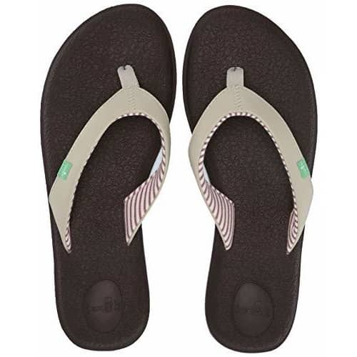 Sanuk Womens Yoga Chakra Flip-Flop shoes color-black color-light-natural flip flops sanuk size-10-women 1.92E+11