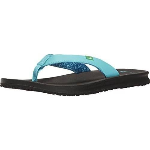 Sanuk Womens Yoga Mat Wander Flip-Flop shoes color-aqua color-black color-brown color-fuchsia color-white