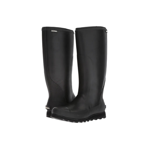 SOREL Womens Joan Tall Rain Boot shoes 100-150 black boots color-black-sea-salt