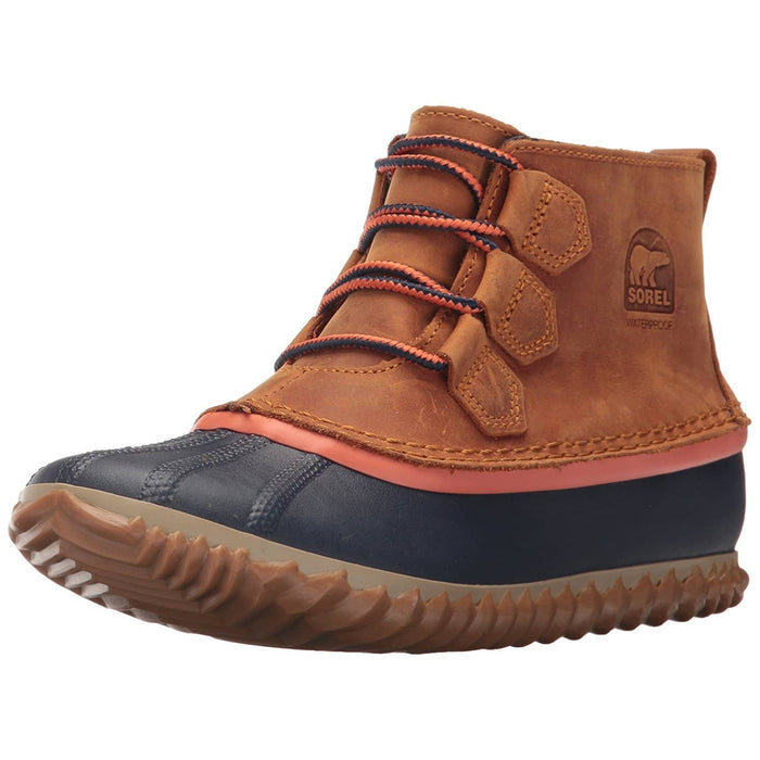 SOREL Womens Out N About Leather Duck Boot shoes 150-250 color-elk size-6 size-6-5 size-7-5
