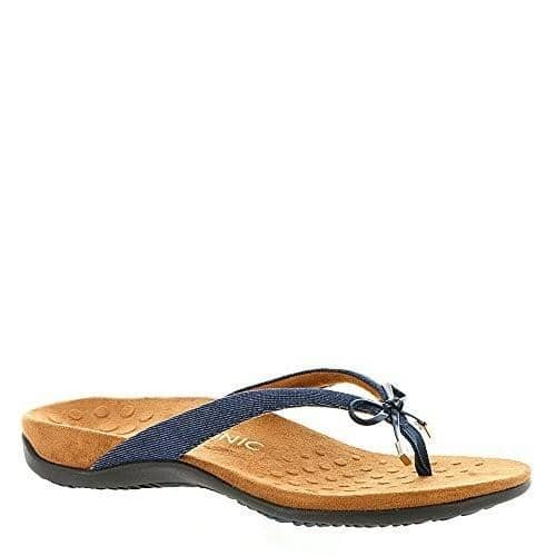 Vionic REST BELLAII TOEPOST Womens shoes 50-75 blue color-gold-cork color-pewter denim