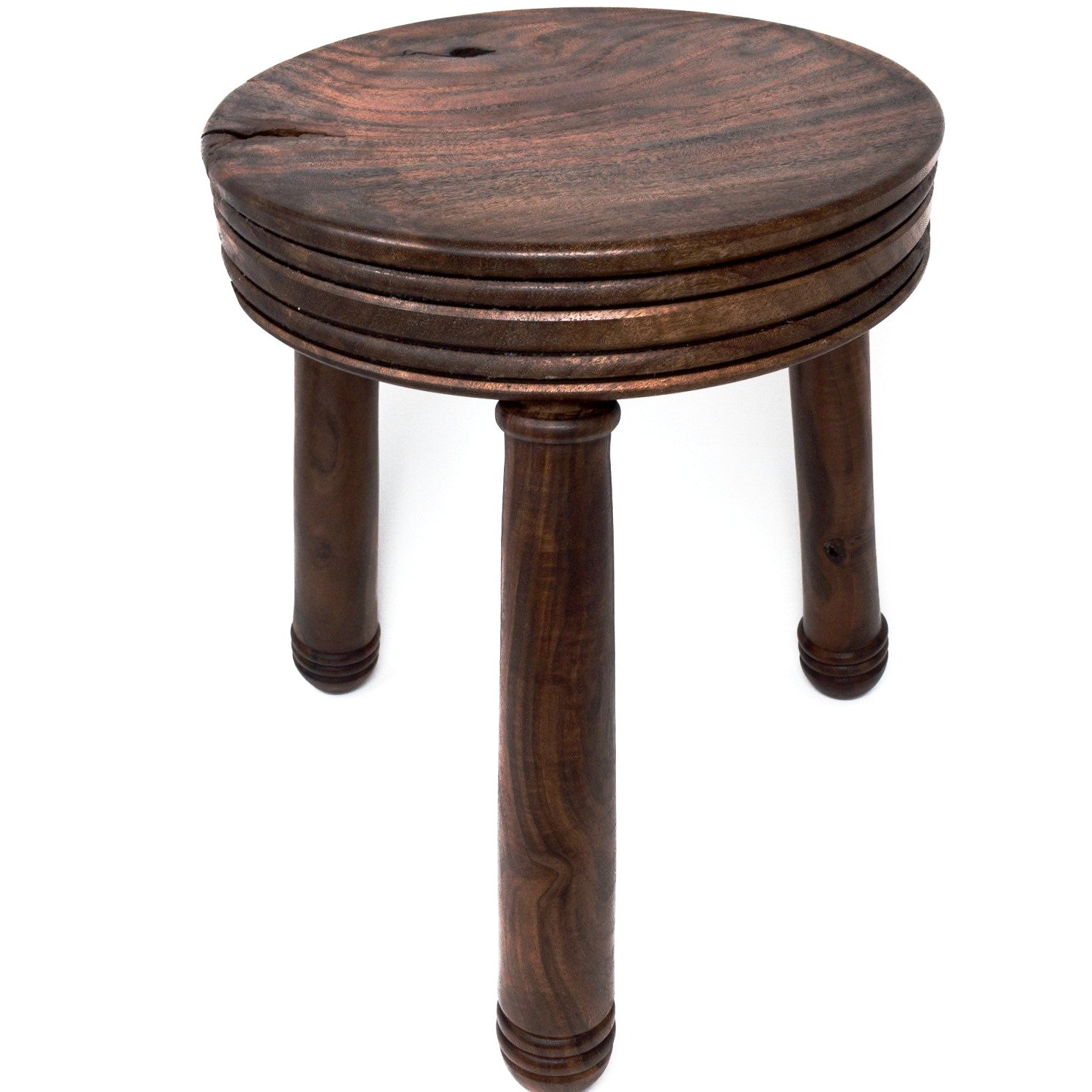Round Black Walnut wood turned stool. Elegant design. Great gift for dad.