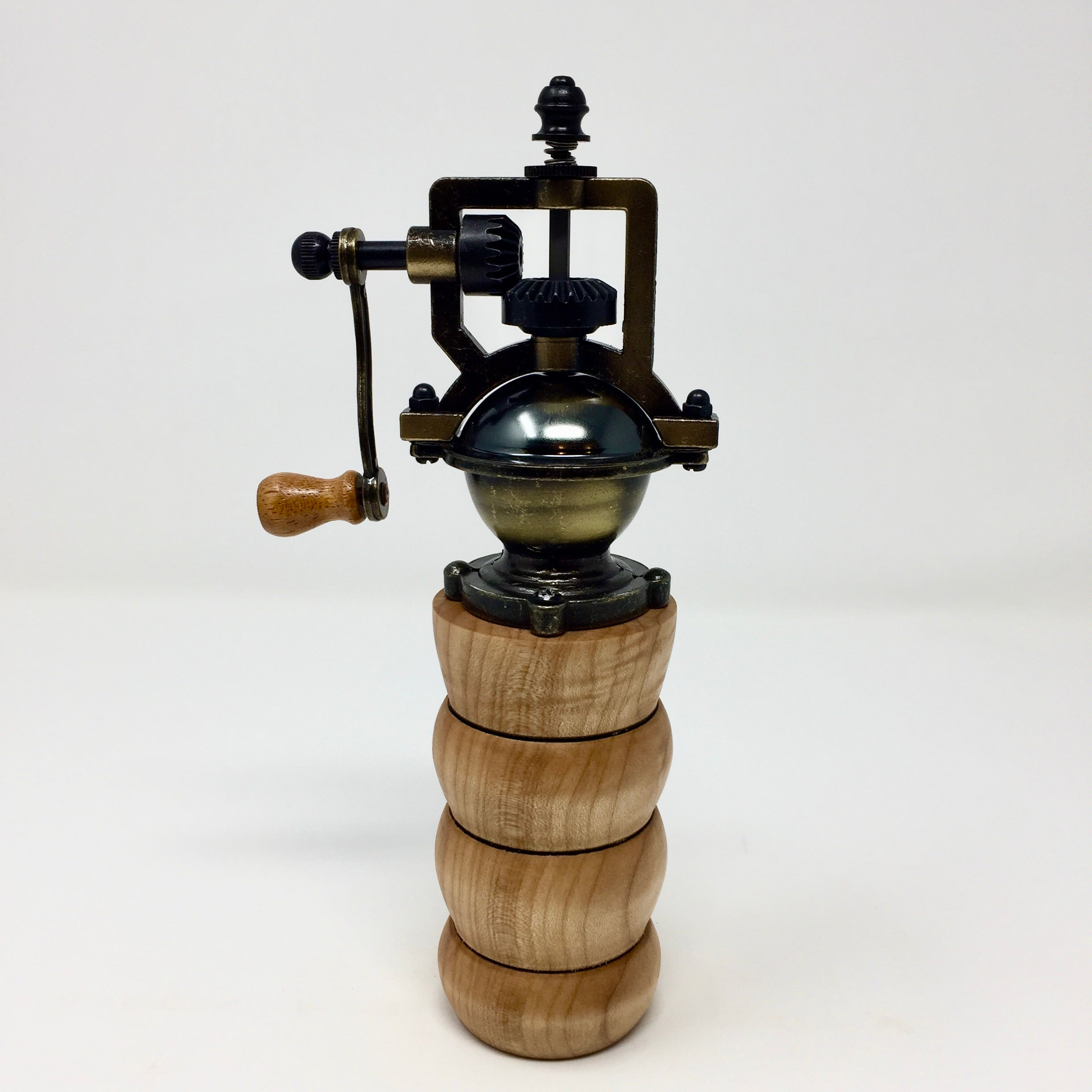 Bronze Antique-style Pepper Grinder in Maple