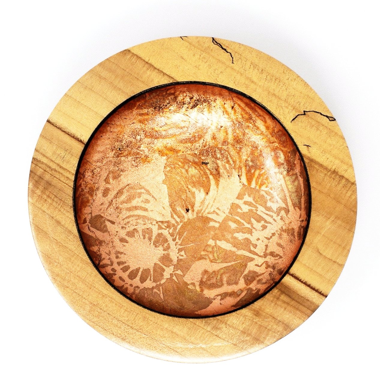 Stunning spalted Maple Art bowl with copper foil.