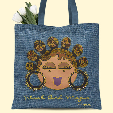 © Denim Bantu Knots Tote Bag