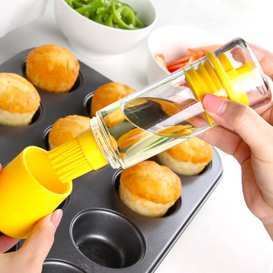 Silicone Honey Oil Bottle with Brush for Baking