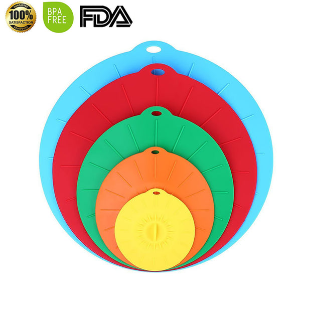 Silicone Lids 4, 6, 8, 10, 12 inch. Use your Suction Lids as Food Covers, Bowl Covers etc
