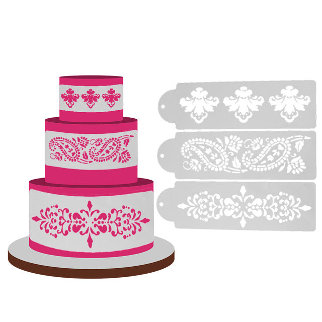Cake Stencil DIY Cake 3 Pcs Template Cake Decorating Baking Tool